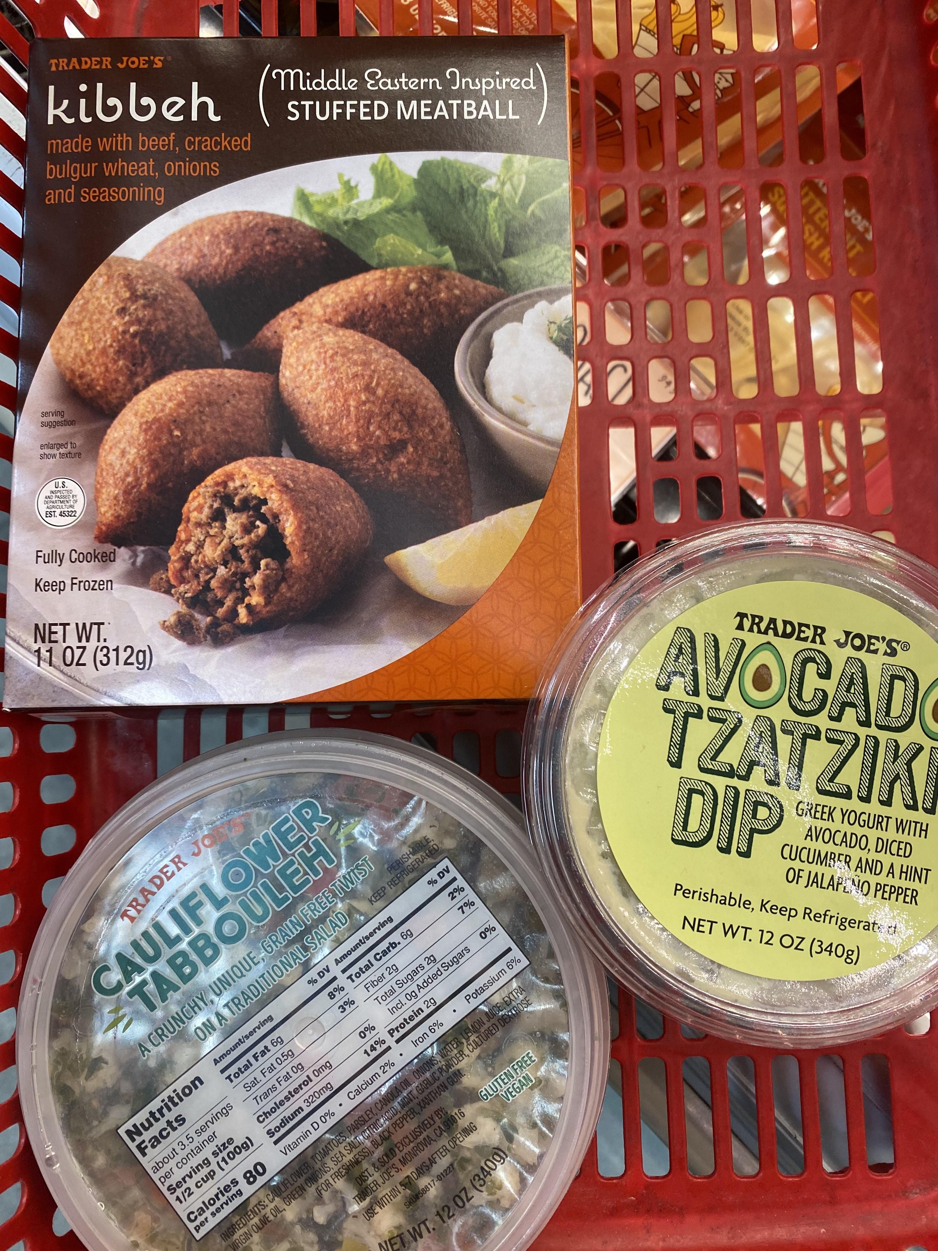 Cauliflower Tabbouleh,  avocado tzatziki, and kibbeh