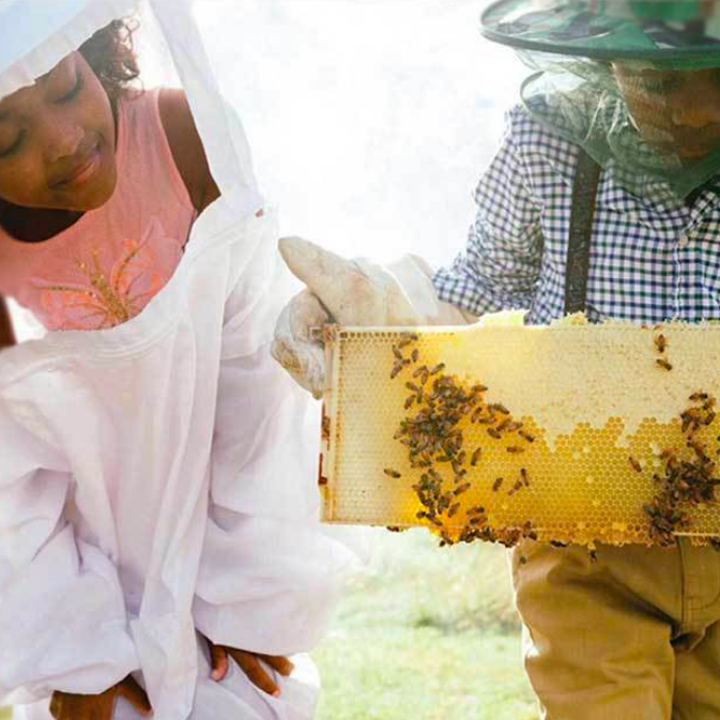 Two kids, in protective attire working with honeycomb
