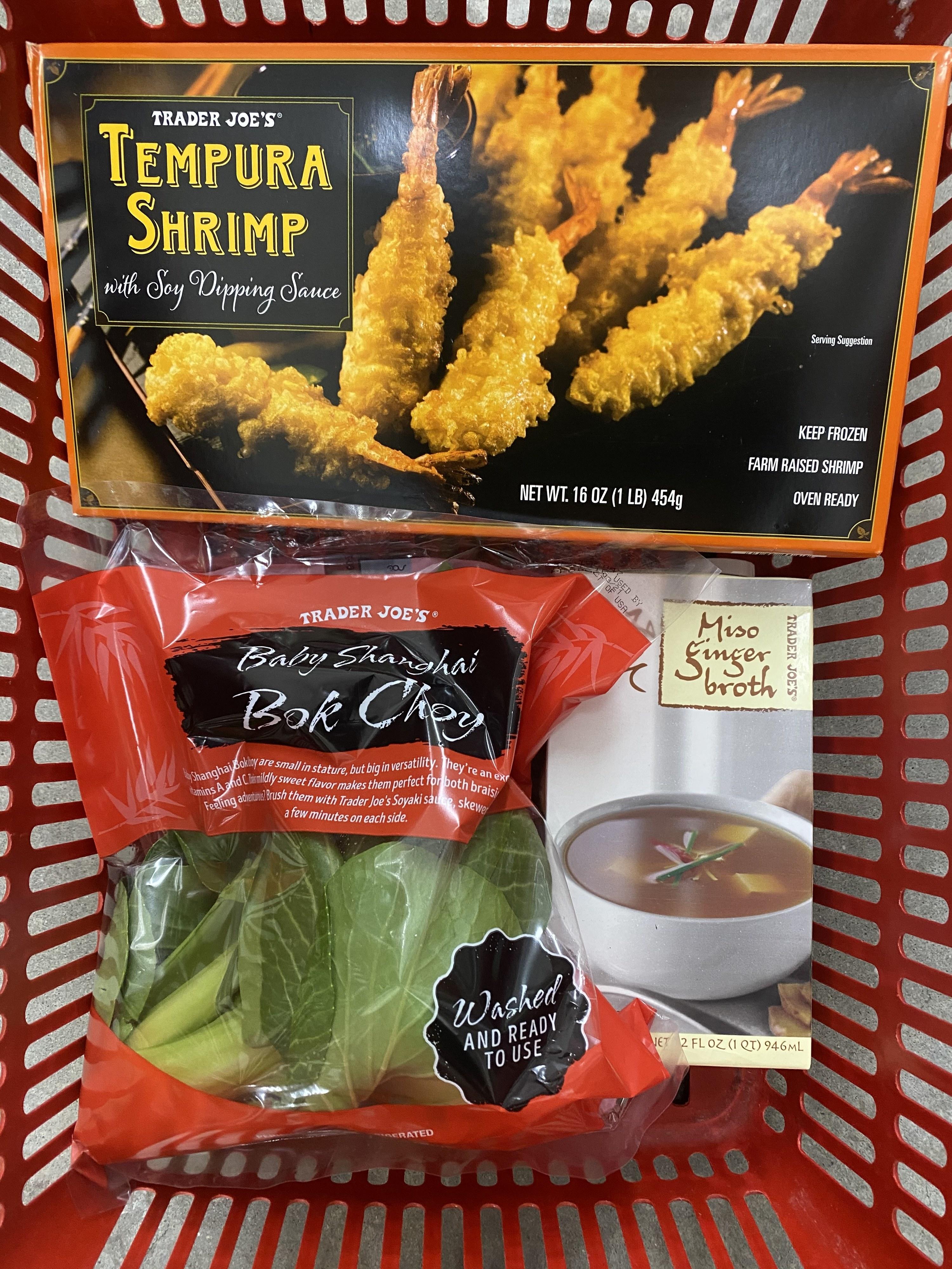 Miso Ginger Broth, Tempura Shrimp, and Baby Shanghai Bok Choy