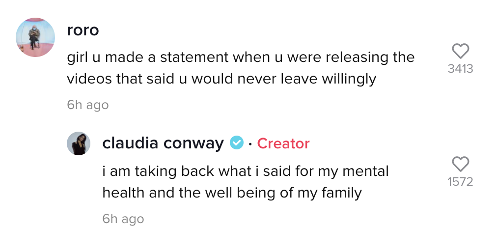 "Screenshot from Claudia's TikTok comments in which Claudia says ""i am taking back what said for my mental health and the well being of my family"""