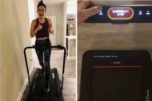 On the left, BuzzFeed editor Genevieve Scarano working out on black Treadly 2 Pro treadmill. On right, Genevieve presses start button on handrail of same treadmill