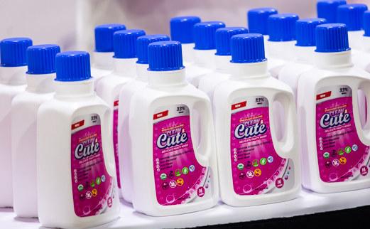 Bottles of the detergent