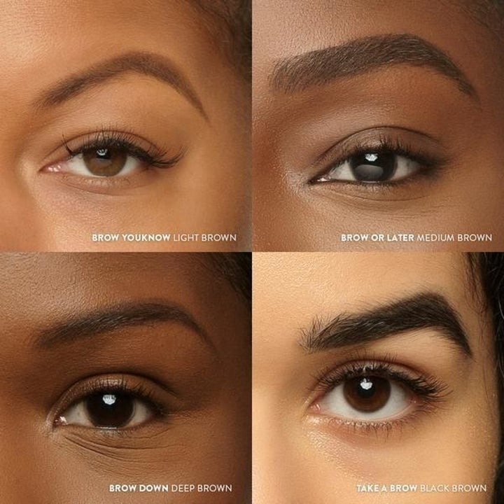Four different people showing their eyebrows after using the product , all with different shapes and shades
