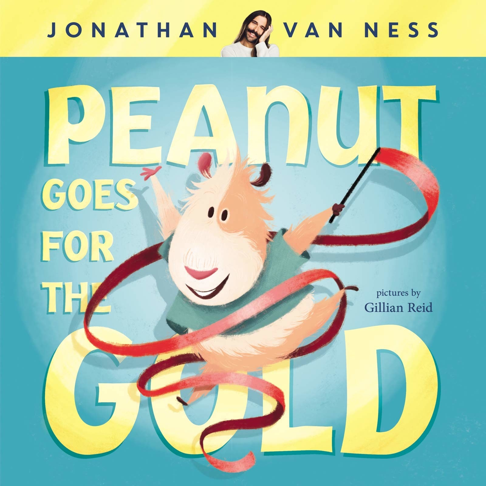 Book cover with a hamster wearing a shirt and twirling a ribbon
