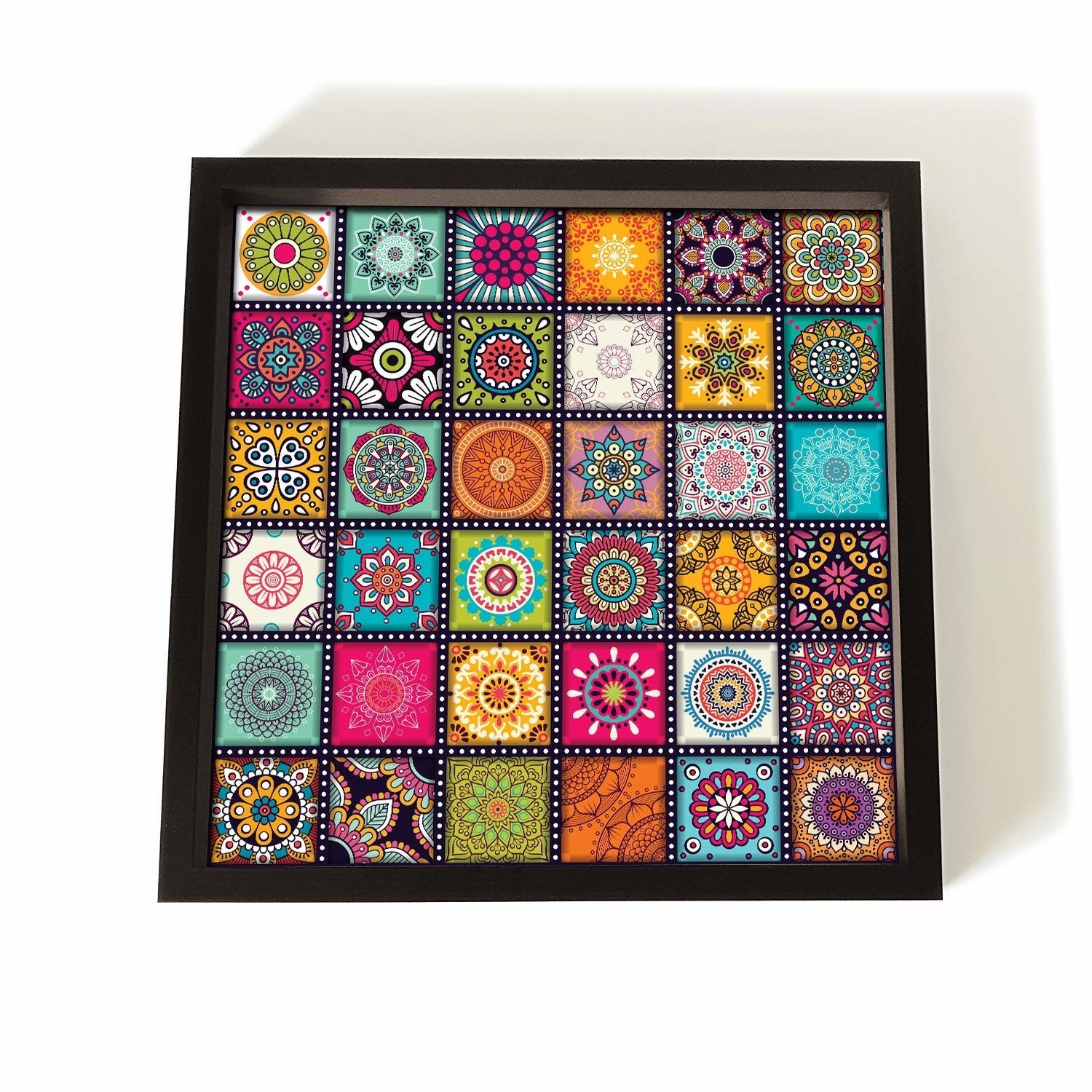 A serving tray with a colourful mosaic design