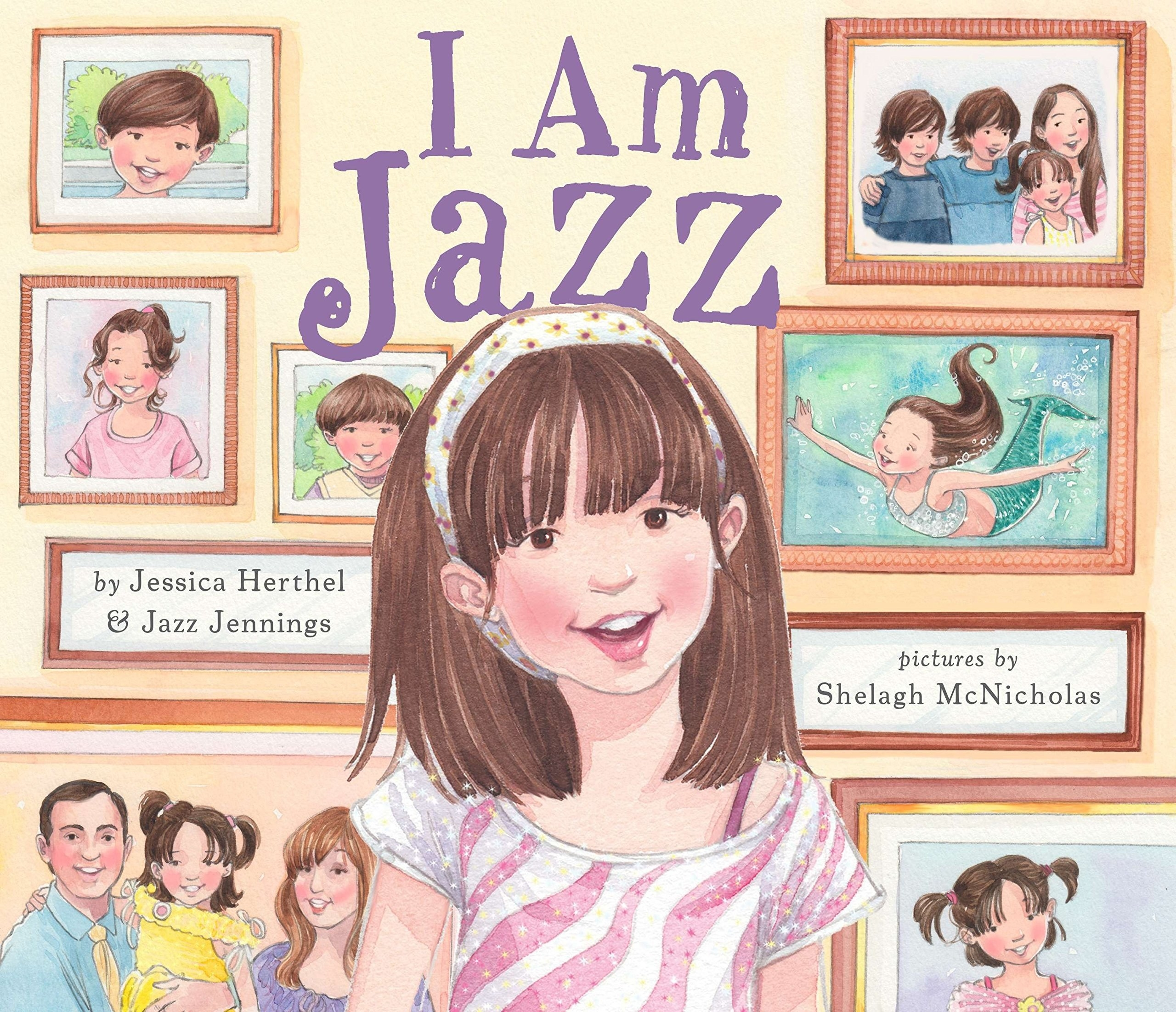 Jazz smiling and surrounded by her parents as well as photographs of herself