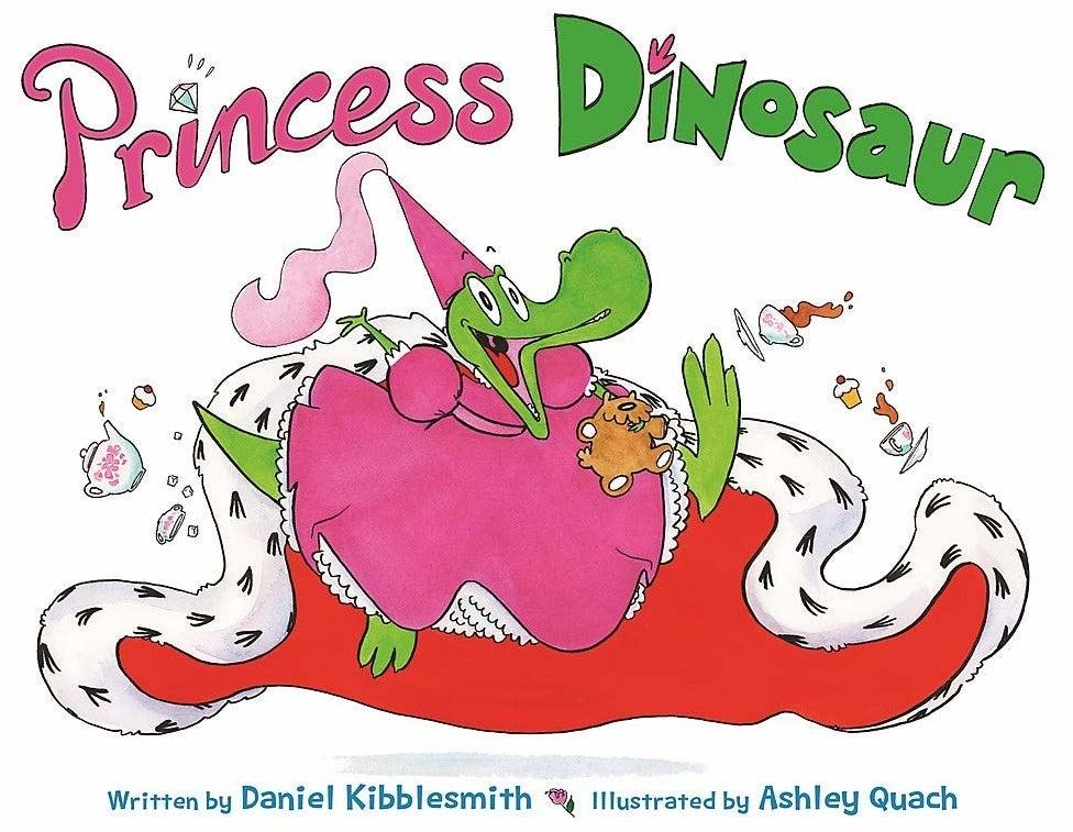 A green dinosaur wearing a princess dress, hat, and cape