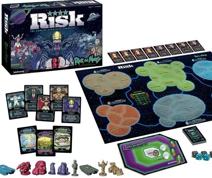 The contents of the Rick and Morty Risk game