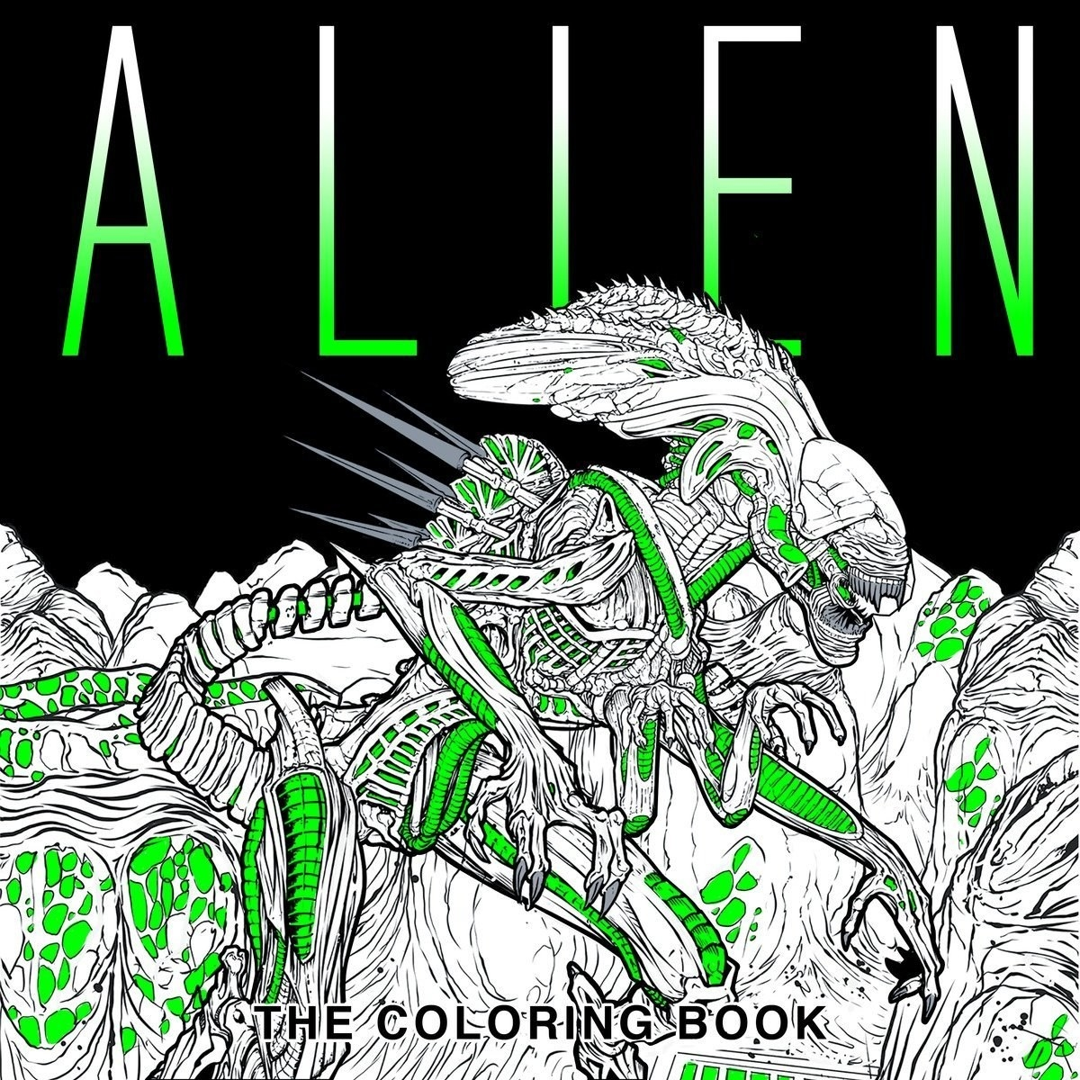 The cover of the Alien colouring book