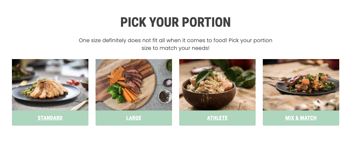 Screenshot from a website asking the viewer to pick between the Nourish'd portion sizes