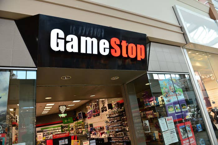 The entrance of a GameStop store