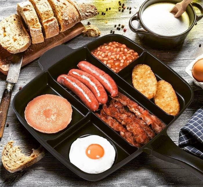 Several breakfast foods in the pan