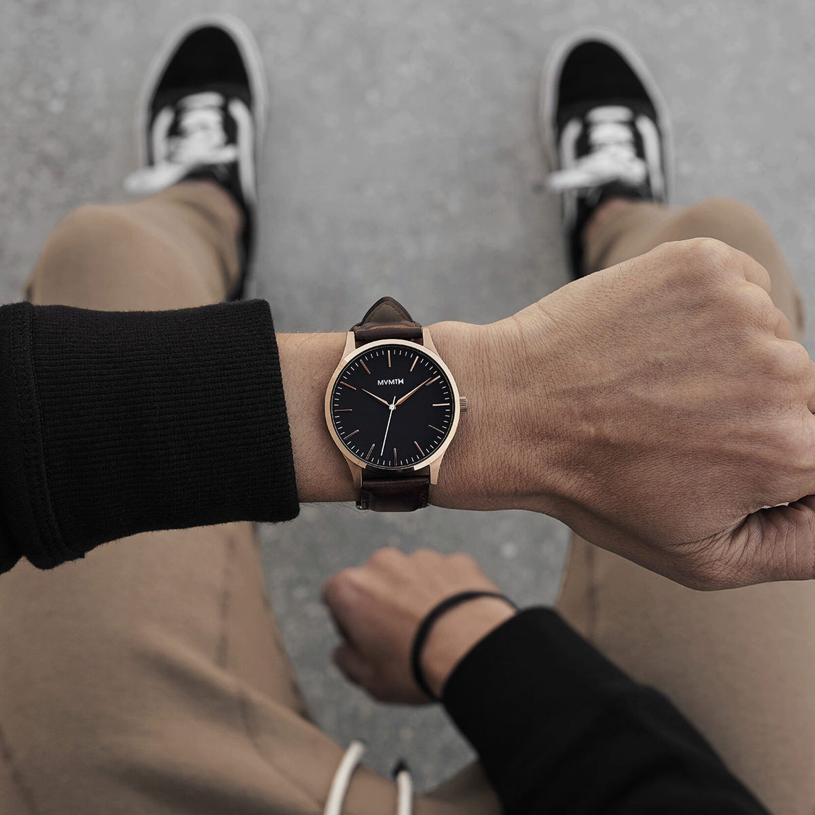 A person wearing the watch on their wrist