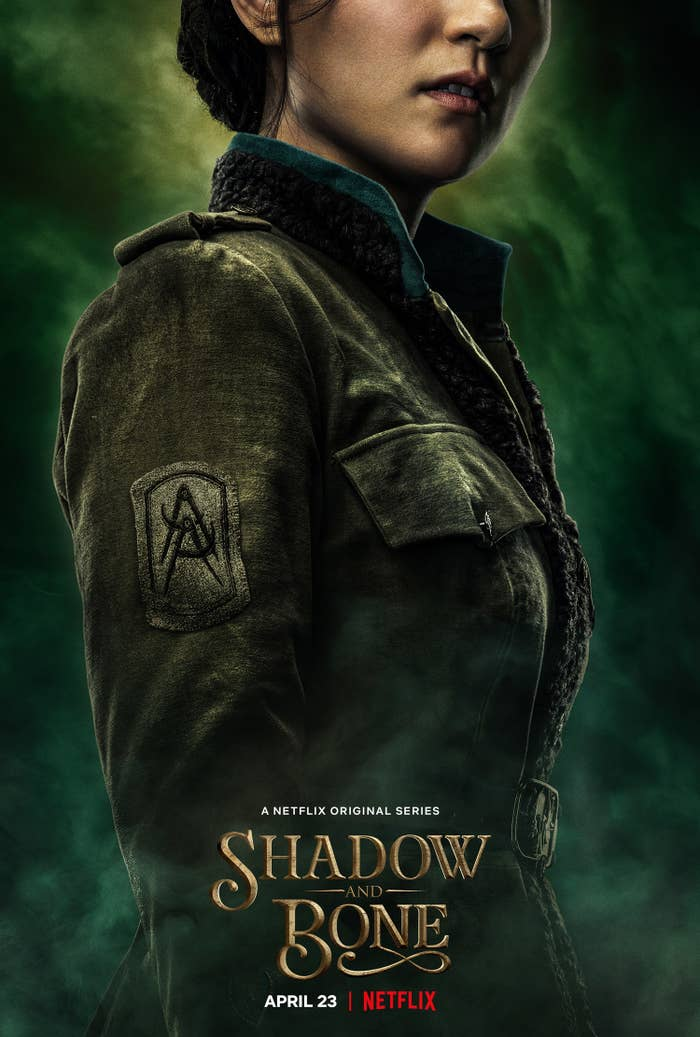 "A ""Shadow and Bone"" poster featuring the date and the character of Alina"