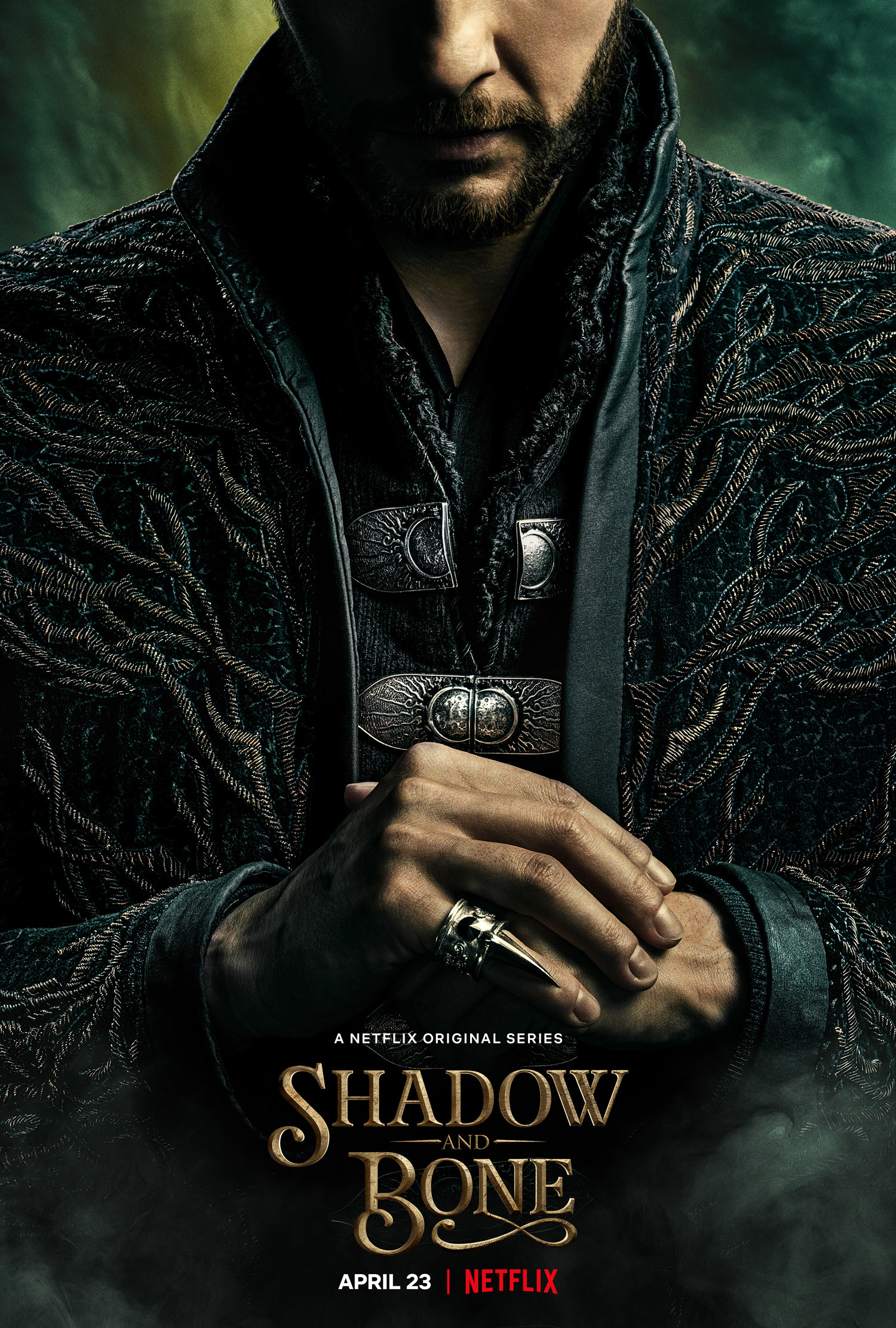 "A ""Shadow and Bone"" poster featuring the date and the character of Kirigan"