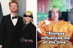 Billie Eilish and Finneas with Billie saying