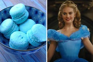 A bowl of blue macaroons are in a bowl on the left with Cinderella smiling on the right