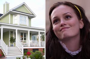On the left, a suburban home with steps leading up to the front porch, and on the right, Blair Waldorf