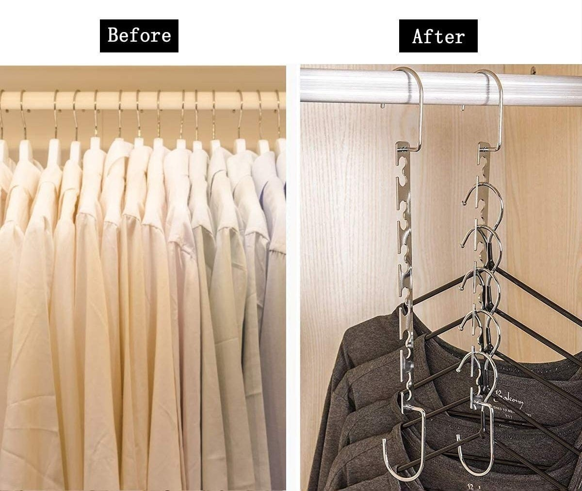 a before and after of clothes hanging normally and then with the fold down