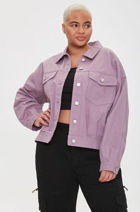 model wearing lavender jacket