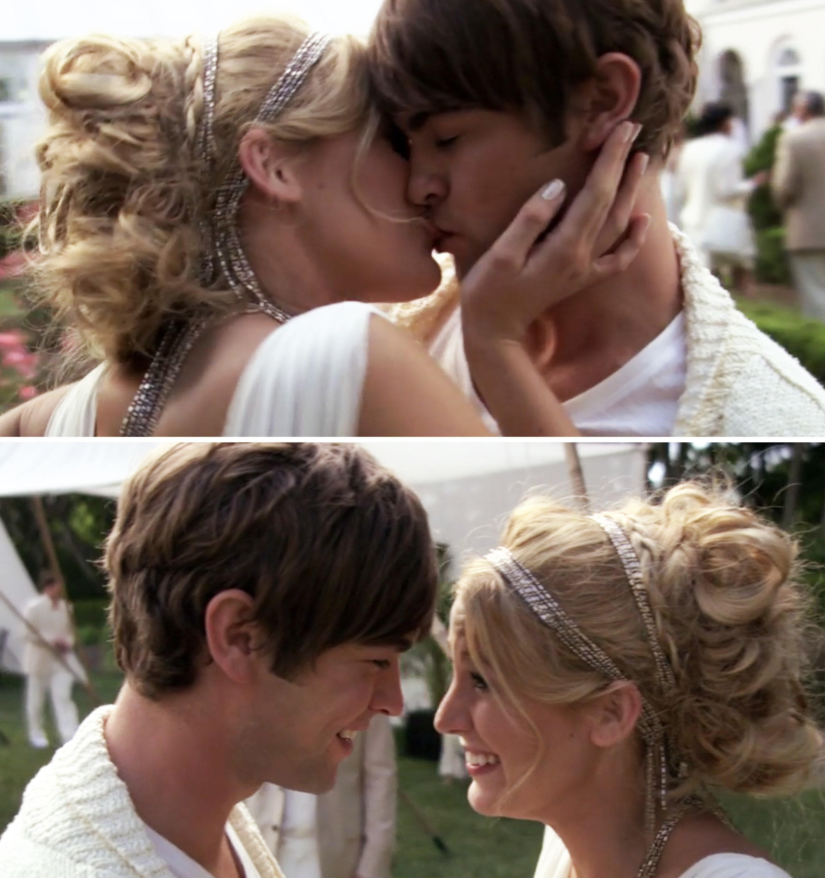 Nate and Serena kissing at the white party