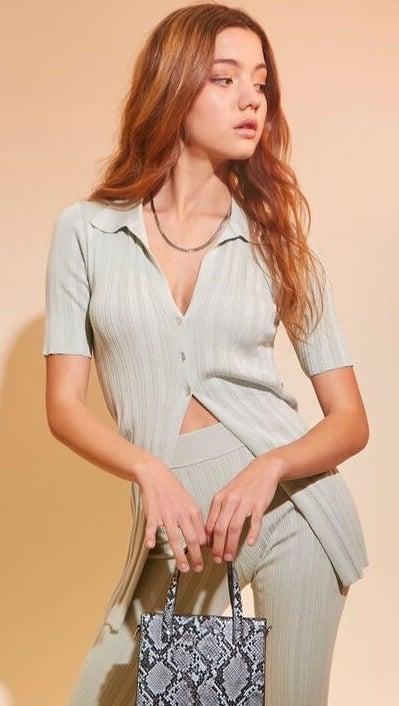 model wearing matching mint set