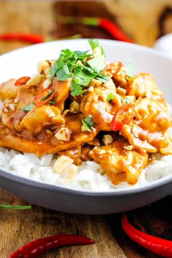 Peanut chicken over rice.