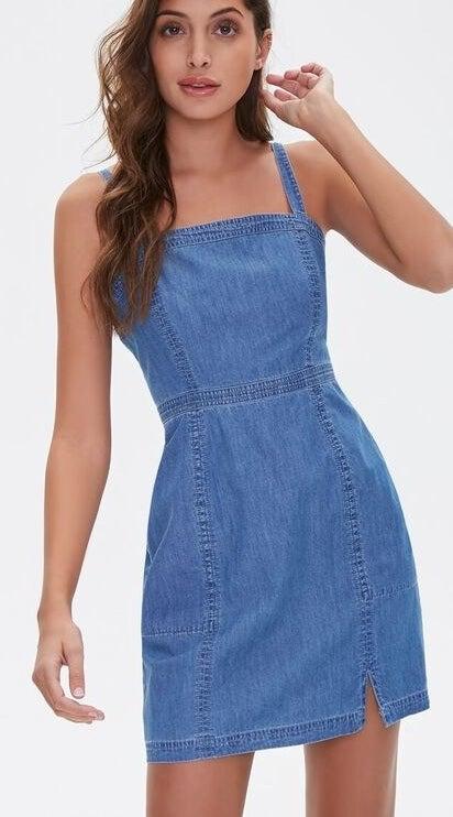 Model wearing denim dress