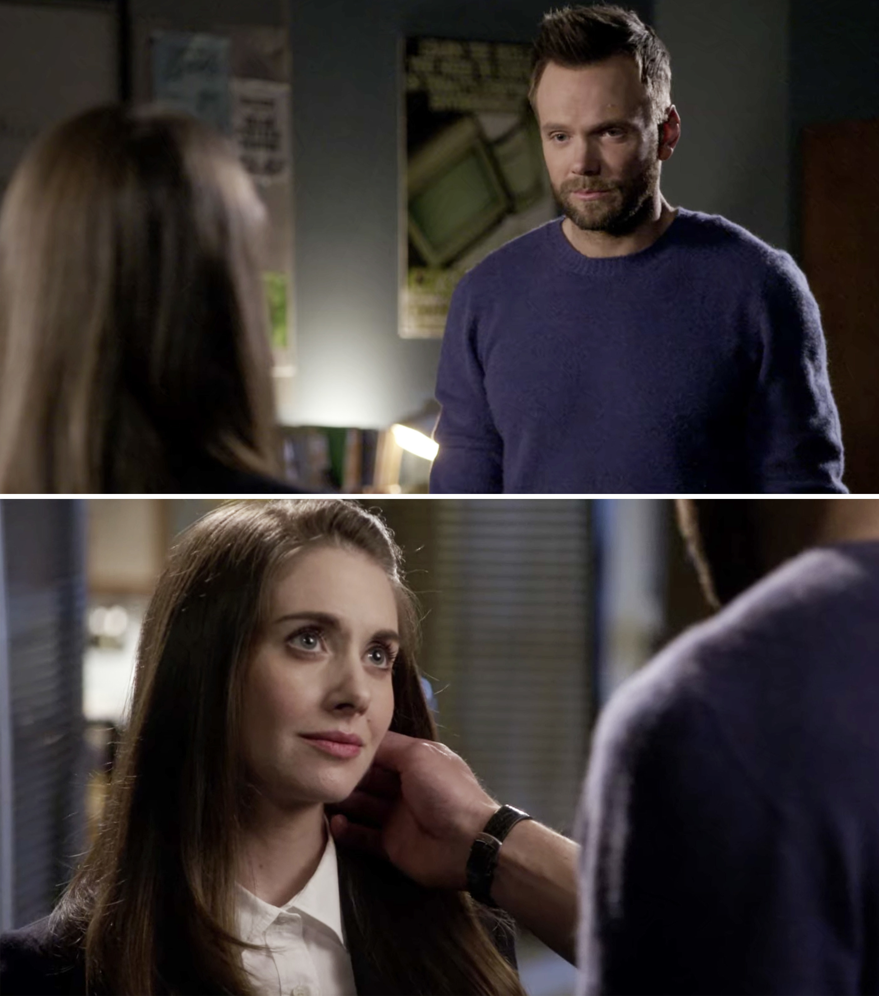 Jeff touching Annie's face and looking at her