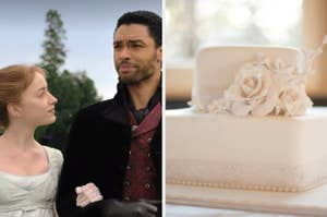 """Phoebe Dynevor as Daphne Bridgerton and Regé-Jean Page as Simon Basset in the show """"Bridgerton"""" and a two tier wedding cake with flowers on it."""