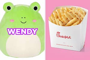 """On the left, a plush frog toy with rosy cheeks labeled """"Wendy,"""" and on the right, some waffle fries from Chick-fil-A"""
