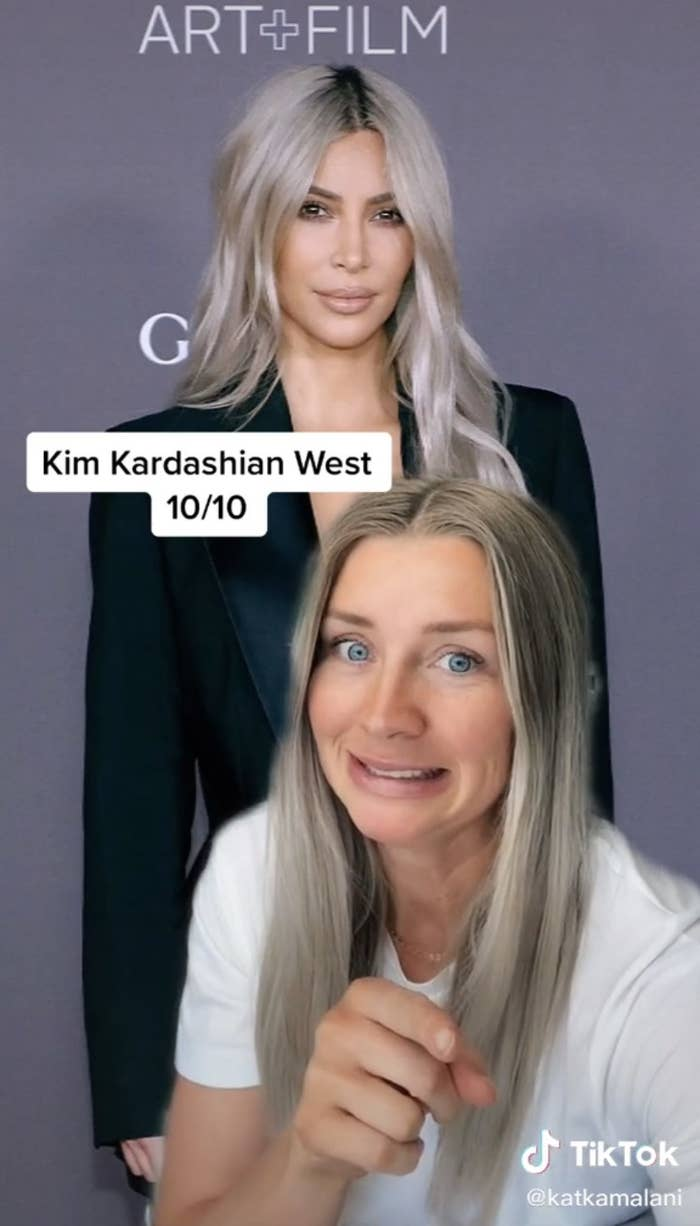 Kim Kardashian being rated 10/10 by a flight attendant