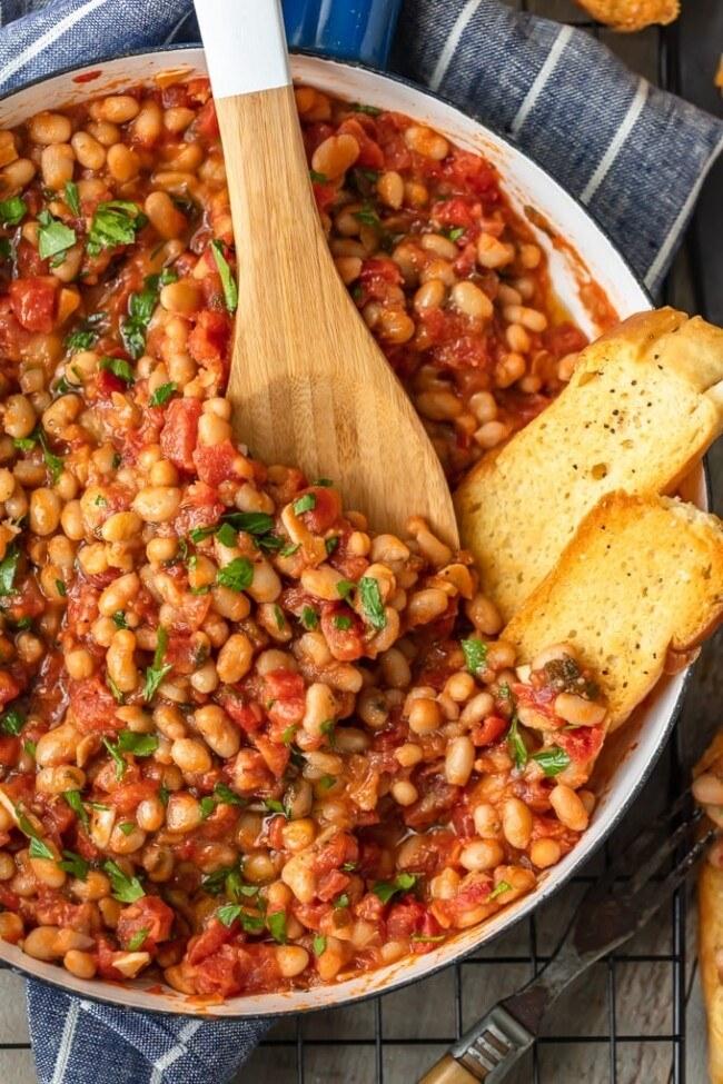 A white bean and tomato skillet.