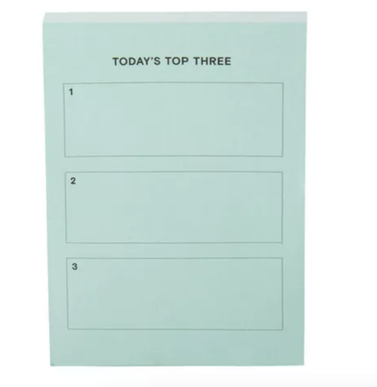 """Pastel green pad that says """"today's top three"""" with spaces for three tasks"""
