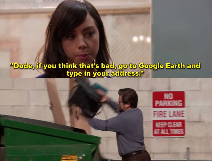 """Aubrey Plaza as April Ludgate and Nick Offerman as Ron Swanson in the show """"Parks and Recreation."""""""
