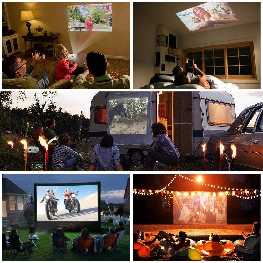 the projecto being used in different places like a wall, ceiling, side of an RV, and outside on a projector screen