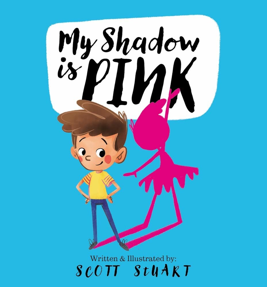 A book looking back at this pink shadow that is wearing a tutu
