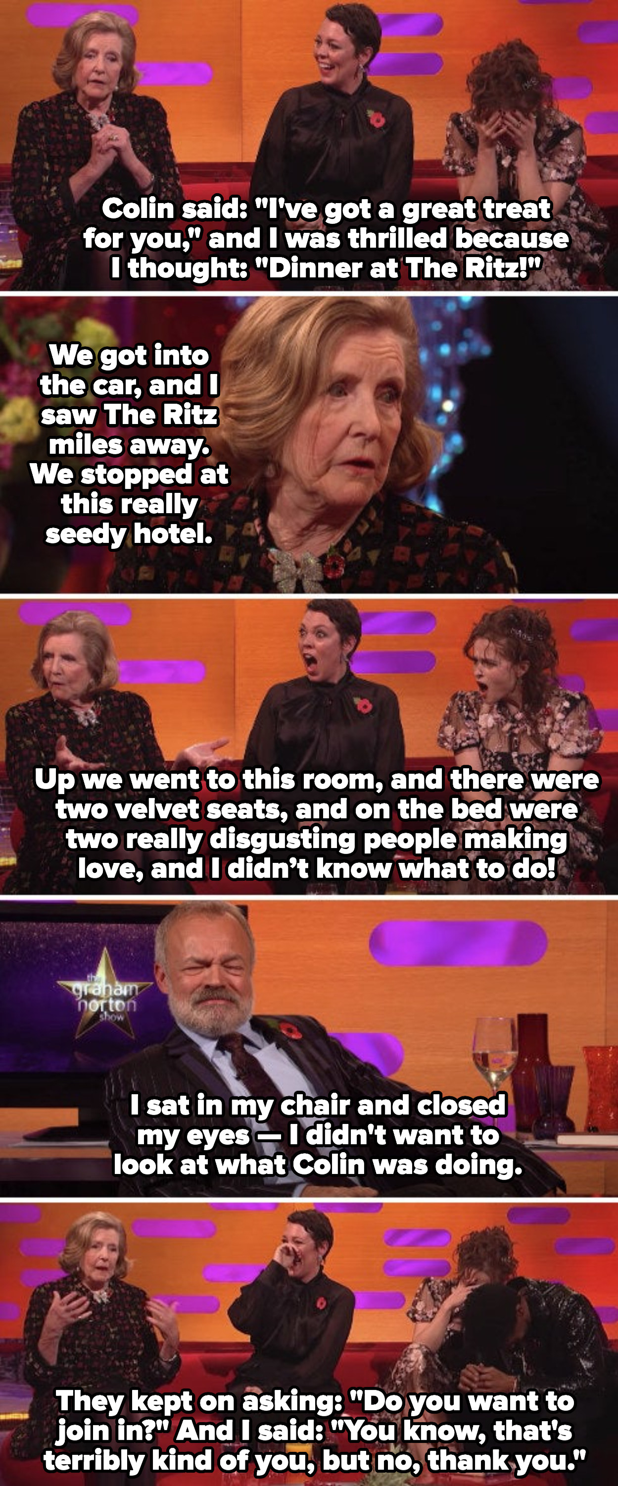 Lady Anne Glenconner describing how uncomfortable she felt in the brothel, and how the two people having sex in front of her repeatedly asked her to join in
