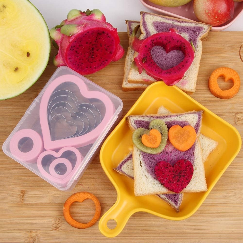 Lunch cut out into heart shapes with cookie cutter kit
