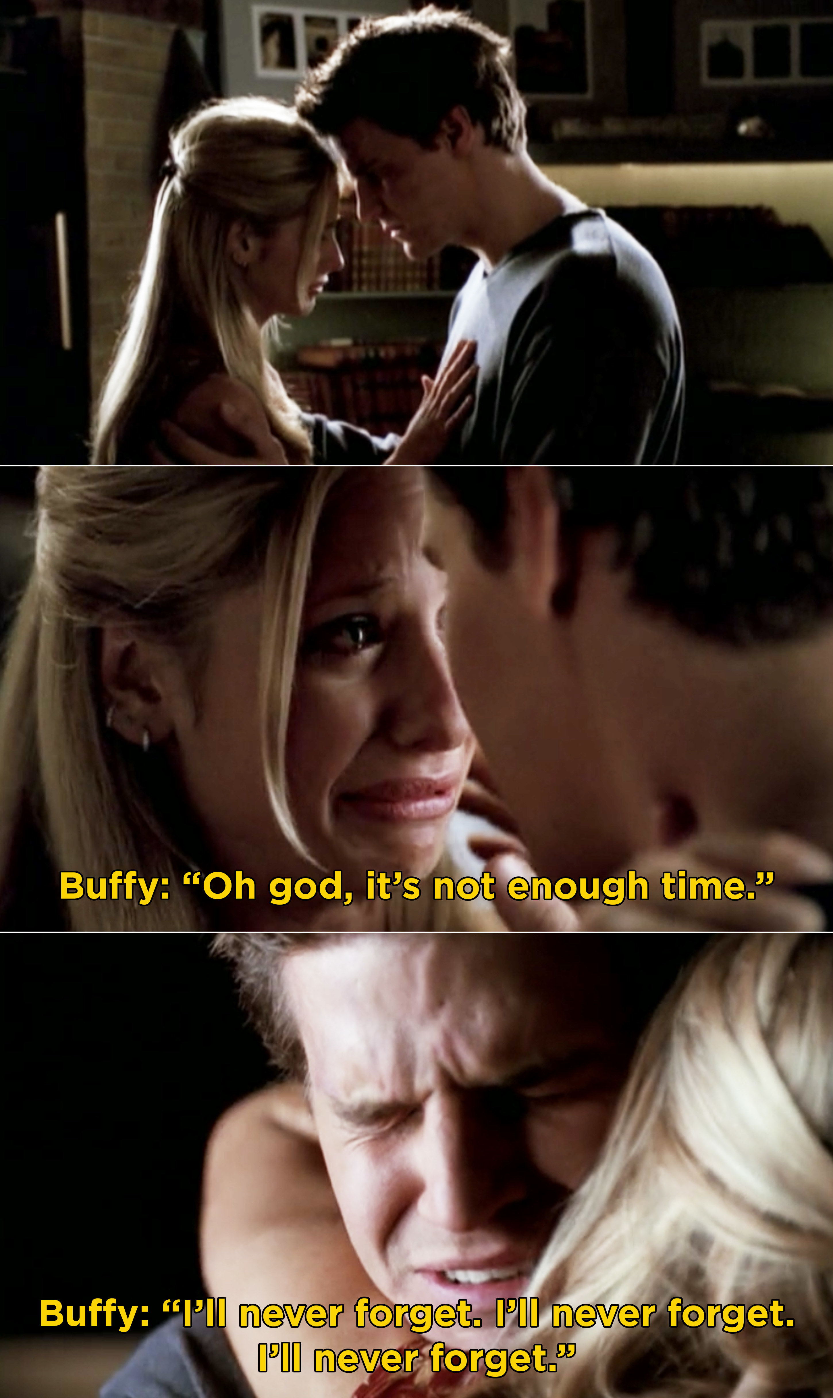 """Buffy and Angel crying and Buffy saying that it wasn't """"enough time"""" and saying that she will """"never forget"""""""