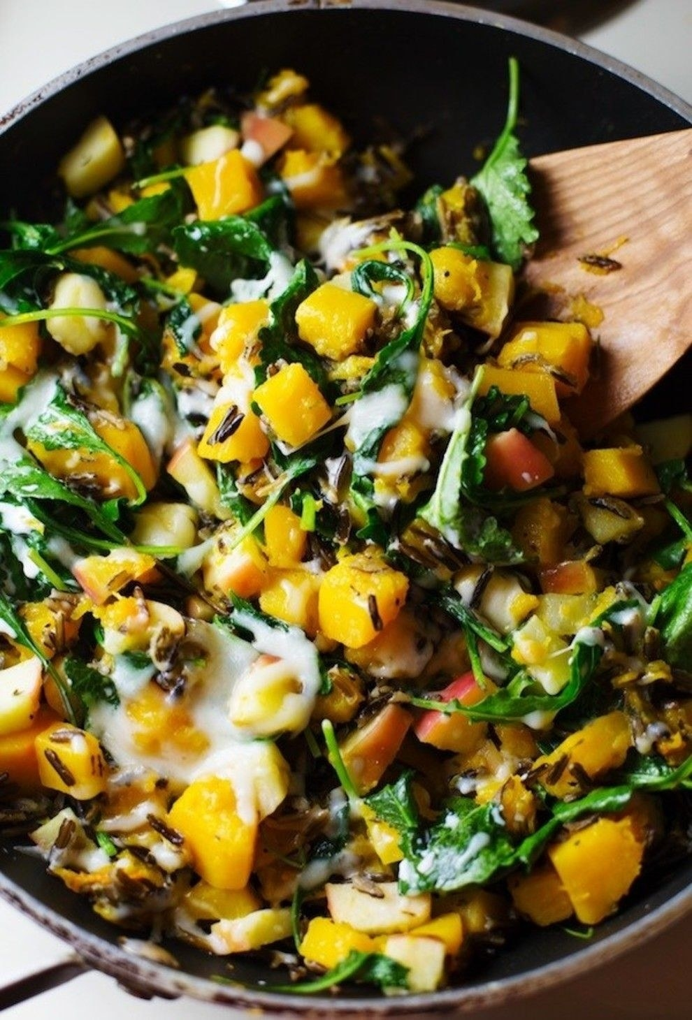 A wild rice skillet with lots of veggies.