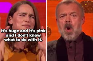 "Emilia Clarke on ""The Graham Norton Show"" describing how big Jason Momoa's penis is"