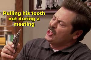 """Nick Offerman as Ron Swanson in the show """"Parks and Recreation."""""""