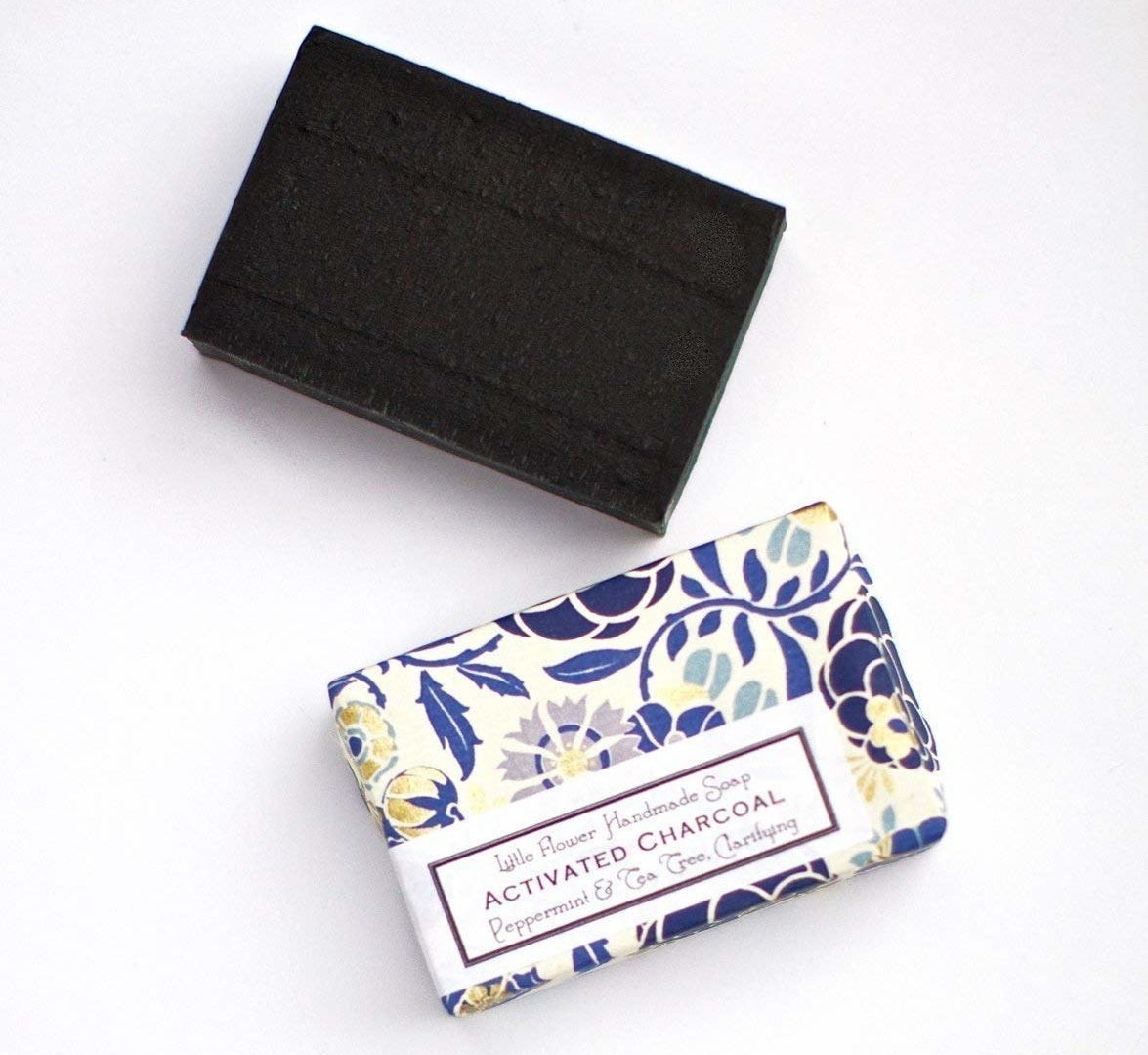 the black charcoal soap bar and the pretty packaging the soap comes in