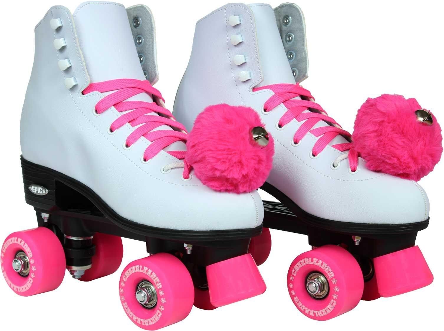 a pair of epic women's cheerleader quad roller skates