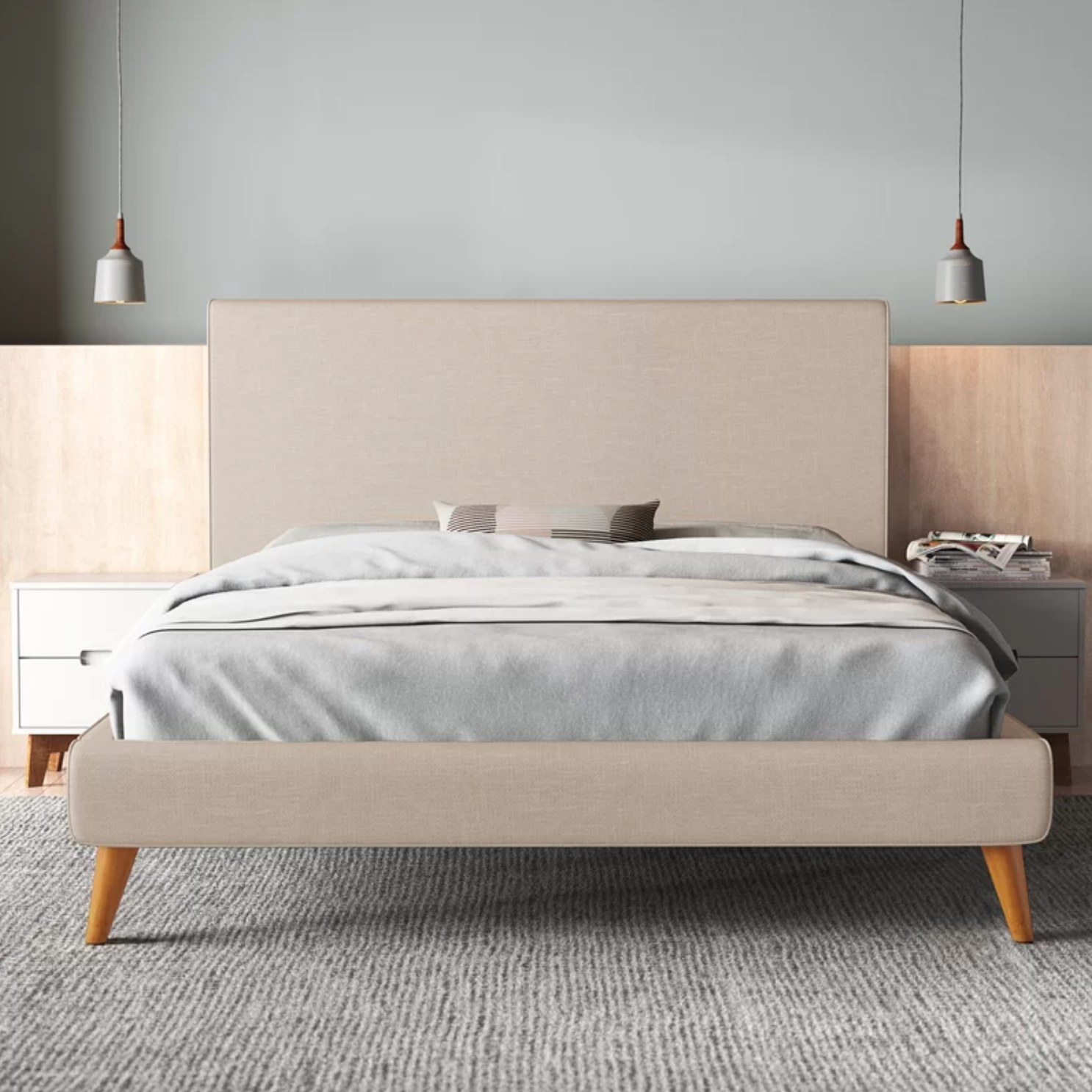 The bed in light gray