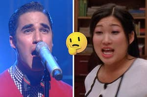 """On the left, Blaine from """"Glee"""" singing """"Cough Syrup,"""" and on the right, Tina from """"Glee"""" singing """"Sing!"""" with a thinking face emoji in between the two images"""