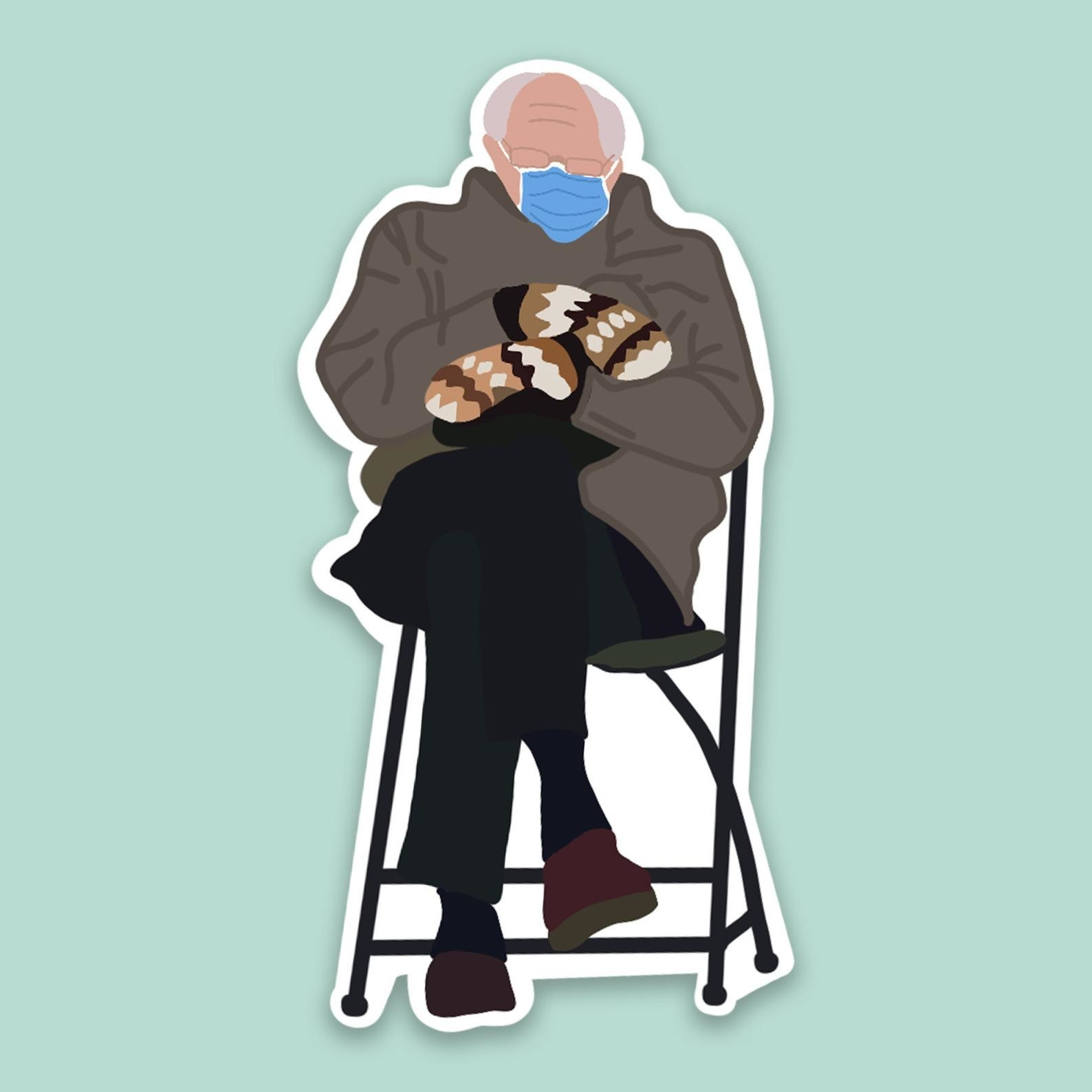 a sticker of the bernie sanders sitting on a chair meme