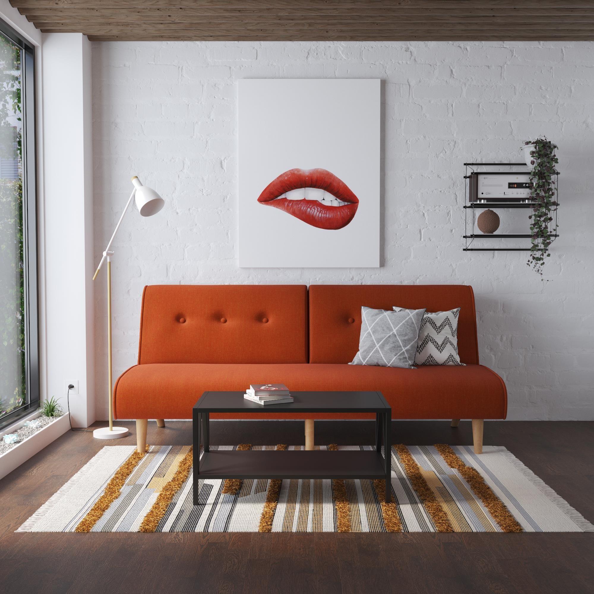 The futon in the color Orange