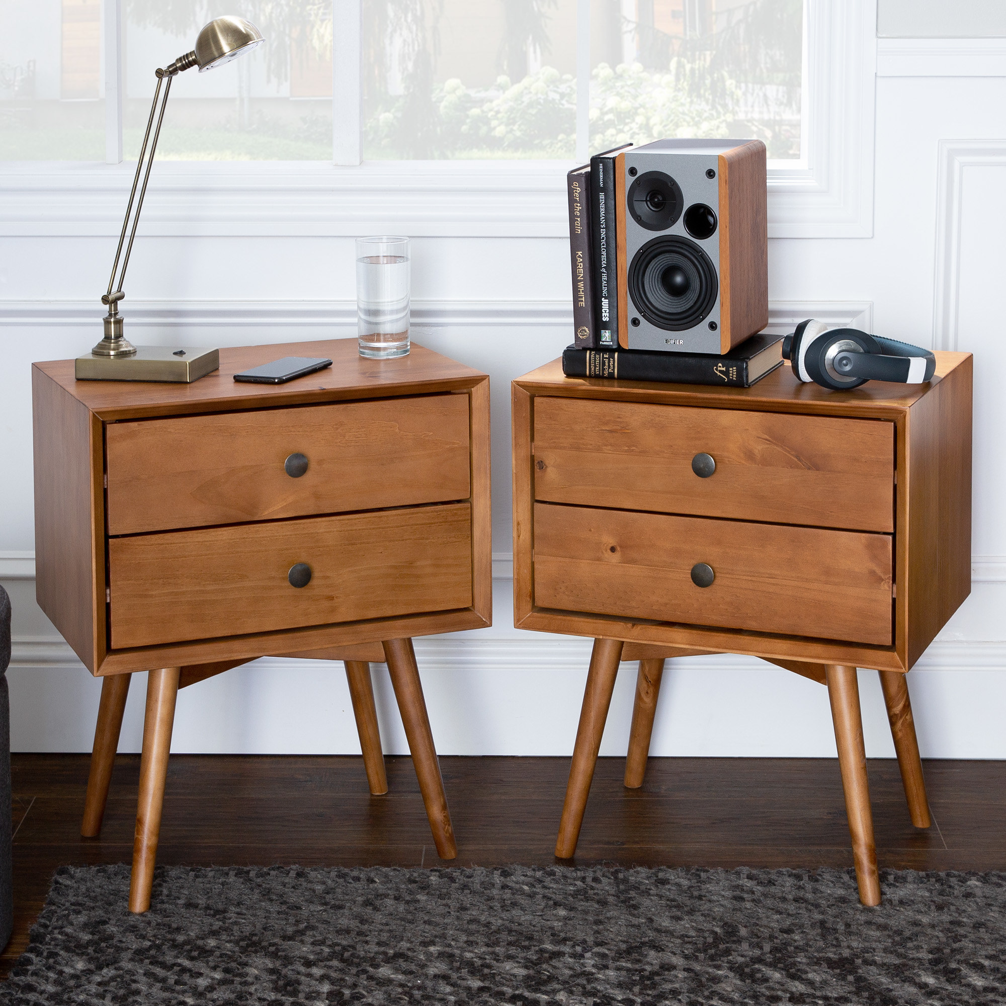 The nightstands in the color Caramel